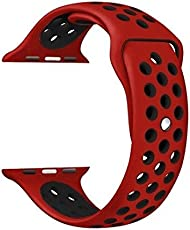 MASKED Silicone Strap Replacement Wristband for iWatch Series1/2/3, Nike+, 42mm (Red and Black)