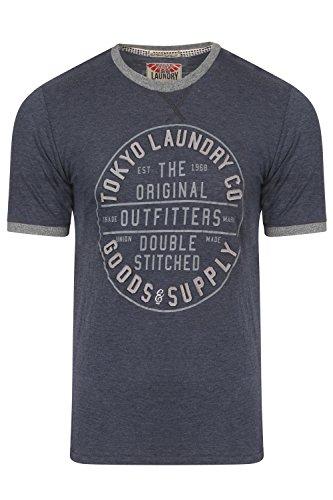 Tokyo Laundry Herren Doppelnaht Designer Felt Verzierung T-shirt Sterne Licht Blau