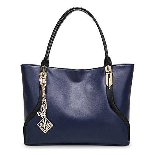FZHLY Donne Grande Capacità 2017 Primavera E L'estate Nuova Modo Europeo E Americano Spalla Bag,Black Blue