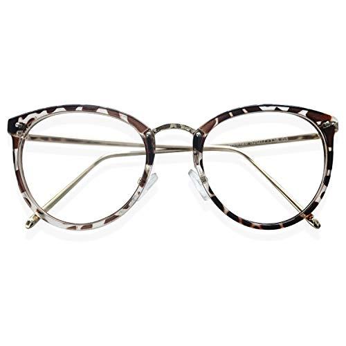 KOOSUFA Retro Nerdbrille Damen Herren Brillengestelle Brille Ohne Sehstärke Rund Klassische Pantobrille Brillenfassung Fake Brille Vintage mit Brillenetui (Leopard)