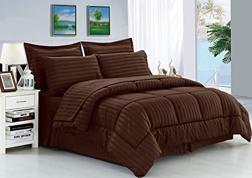 Eleganten Komfort knitterfrei-seidig weich Dobby Stripe Bed-in-a-Bag 8-teilig Tröster Set--Hypoallergenic-King Schokolade -