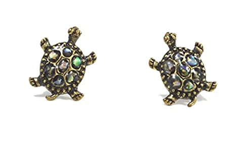 Antique Bronze Tone Little Turtle Stud Earrings Cute Design with Shell Pieces (in Organza Bag)