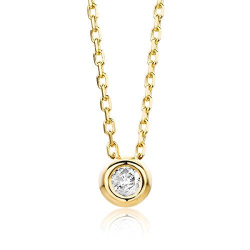 Orovi Damen Halskette mit Diamant Gelbgold Kette 14 Karat (585) Brillianten 0.05crt, Goldkette