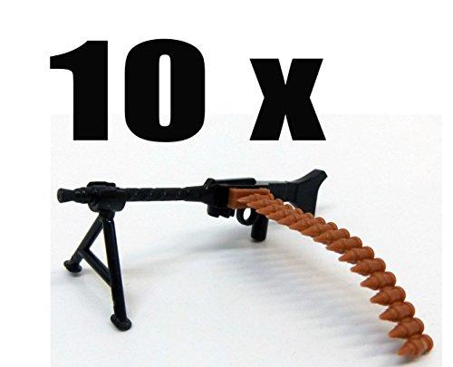 Modbrix 7625 - 10 x Maschinengewehr mit Patronengurt und Standfuß,Custom Waffen Set für Lego Figuren thumbnail