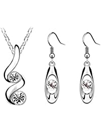Damen Schmuck Set Halskette-Ohrringe mit Kristall, Legierung, Tropfen Anhänger wunderbar für Hochzeit und Party