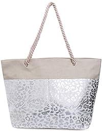 cd7aa4742fb41 Faera Strandtasche mit glänzendem Streifen oder Leoparden-Muster XXL Shopper  Beach Bag mit breiter Kordel