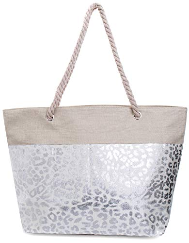 Faera Strandtasche mit glänzendem Streifen oder Leoparden-Muster XXL Shopper Beach Bag mit breiter Kordel Schultertasche, Taschen Farbe:Silber