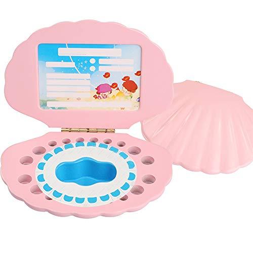 WanuigH Handgemachte Milchzahndose Baby Shell-Baby-Haar-Zahn-Kasten-Baby-Andenken-Milchzahnerhaltung Box aus Holz Geburtstagsgeschenk Holz Arbeitsspeicher Speicher (Farbe : Pink, Size : One Size)