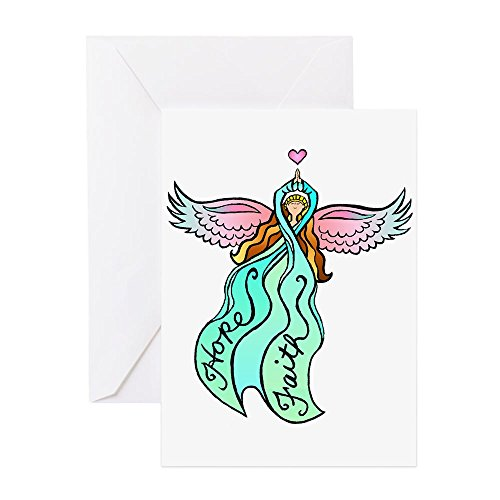 CafePress - Blaugrüne Schleife - Grußkarte, Notizkarte, Geburtstagskarte, innen blanko, glänzend (Papier Teal Kontakt)