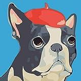 1pc Französisch Bulldogge Rote Kappe Baskenmütze Hund Haustier Tier Acryl Diy Malerei Durch die Anzahl der Hobby-Kit, Home-Wandbild-Dekor-Kunst, Auf Leinwand,