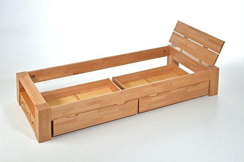 ALASKA Einzelbett Buche massiv mit Schubladen, 90x200 ✓ Handarbeit ✓ Robust ✓ Zeitlos | Balkenbett mit Aufbewahrung als natürliches Schlafzimmer-Möbel | Bettgestell, Massivholz-Bett mit Kopfteil