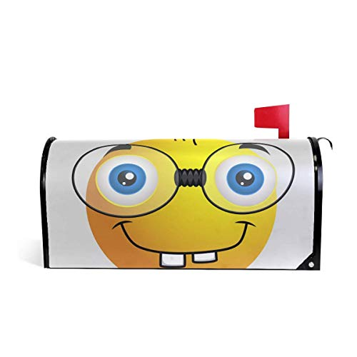 prz0vprz0v Funny Emoji Smiley Emoticon Magnetic Mailbox Cover 21 x 18 Inches Waterproof Canvas Mailbox Cover