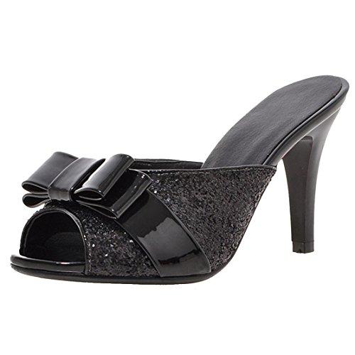 AIYOUMEI Damen Glitzer Peep Toe Stiletto High Heels