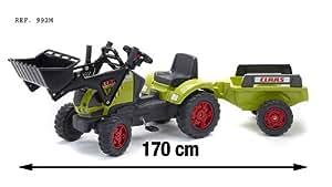 Falk 992M - Trattorino a pedali Claas Ares con ruspa e rimorchio PM