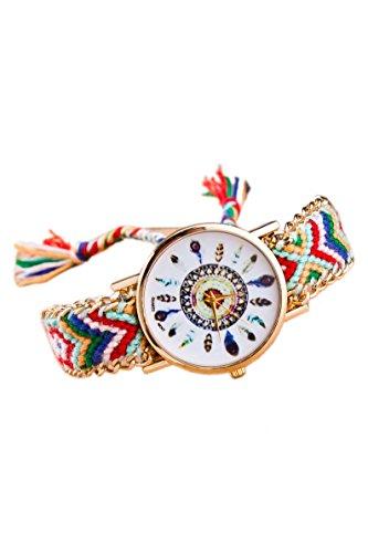 Armbanduhr - SODIAL(R) Damen Goldkette geflochtenes Armband-Armbanduhr Farbe No.7