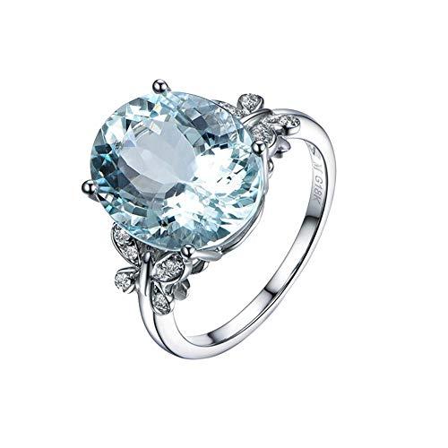 9206cd7a8b83 Aikesi Anillos Mujer Plata Grande Circonita Mar Azul Estilo de Elegante  Anillo Hermoso Regalo Joyeria Hacerte