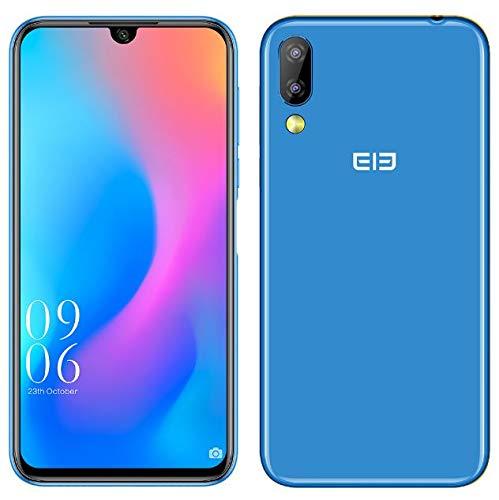 """Elephone A6 Mini Android 9.0 4G Double SIM Telephone Portable debloqué - Écran 5,7"""" HD+ de Coupe-Bord à gouttelettes Smartphone, MTK6761 2,0GHz 4Go + 32Go, c Trois Camera 16MP+2MP+16MP - Bleu"""
