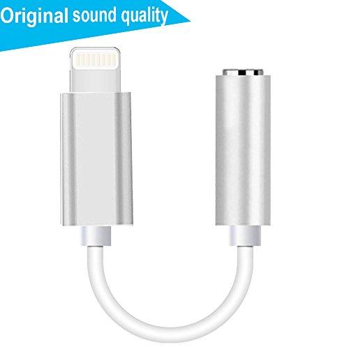 Lightning auf 3,5 mm Kopfhörer Jack Adapter, Lightning Interface auf 3,5 mm Kopfhörer Aux Audio Kabel, Stecker für iPhone 8/8Plus iPhone 7/7 Plus Zubehör. iOS 10.3/11 Oder Mehr(Silber)