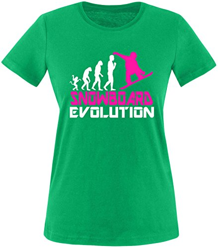 EZYshirt® Snowboard Evolution Damen Rundhals T-Shirt Grün/Weiss/Pink