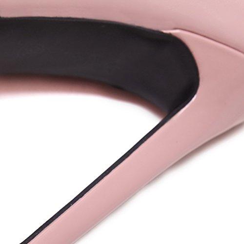 AllhqFashion Femme Pointu Stylet Tire Couleur Unie Chaussures Légeres Rose