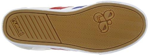 Hummel Sneaker Unisex Erwachsene – SLIMMER STADIL LOW – Freizeitschuh div. Farben - Halbschuh Leinen / Wildleder – Klassik Turnschuh Comfort Sohle Weiß (White/Blue/Red/Gum)