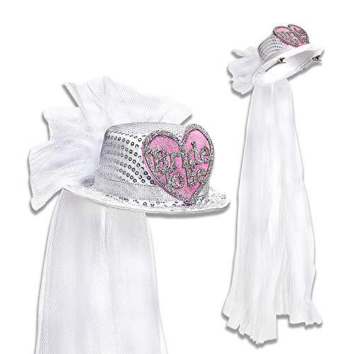 WIDMANN 07066 Minihut mit Paillettenherz und Brautschleier Damen Weiß/Rosa Einheitsgröße