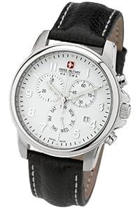 Reloj Swiss Military 06-4121.04.001 de caballero de cuarzo con correa de piel negra (cronómetro) - sumergible a 100 metros de SWISS MILITARY