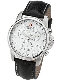 Swiss Military 06-4121.04.001 - Reloj analógico de caballero de cuarzo con correa de piel negra (cronómetro) - sumergible a 100 metros
