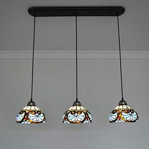 Klassische Tiffany-Stil 3-Kopf Kronleuchter hängen, 8 Zoll viktorianischen Glasmalerei Schatten Schmiedeeisen Anhänger Beleuchtung für Restaurant Bar Cafe Deckenleuchten -