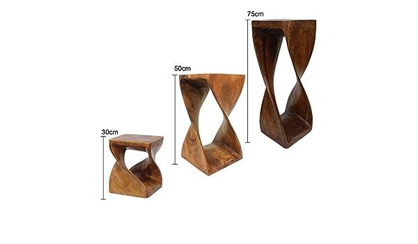 Sgabello in legno ruotato per piante fiori o come tavolino d