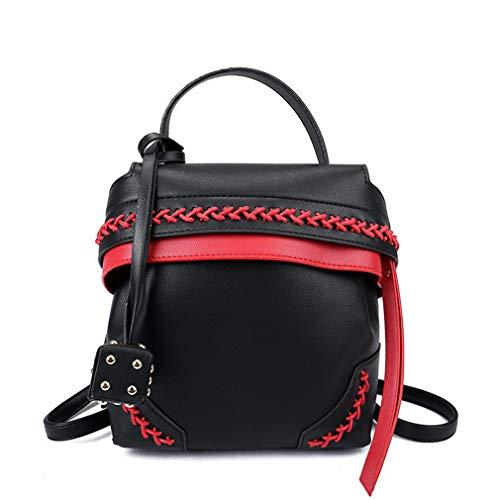 Milkate Koreanische Persönlichkeit Stricktasche mit Spleißfunktion, Farbe Wild, Damen, Schwarz, W18H20D11 cm