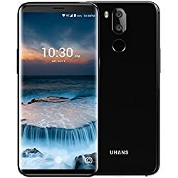 "UHANS i8 (2018) - Smartphone 4G Android 7.0 (5,7 ""HD IPS, 4 GB RAM + 64 GB ROM, Octa Core 1,5 GHz, Frontkamera 8MP, Dual Back Kamera 16 + 3MP, Akku 3500 mAh, Typ-C, Touch ID, Dual SIM), Schwarz"