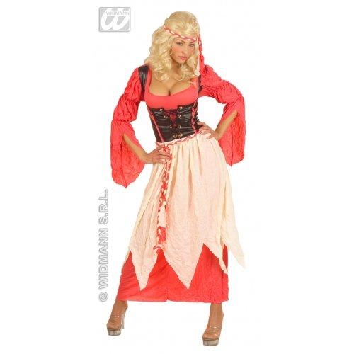 Sancto Burgfräulein Damenkostüm Mittelalter rot-Weiss-braun - Englische Renaissance Theater Kostüm