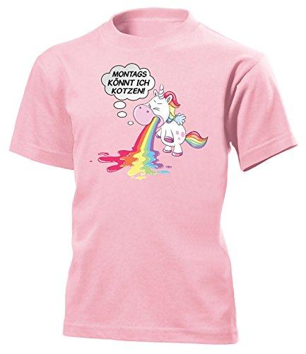 nnt Ich Kotzen 5939 Kinder T-Shirt (K-Rosa) Gr.122 (Kotzen Regenbogen Kostüm)