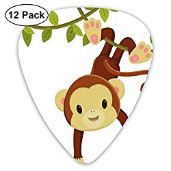 Guitar Picks - Abstract Art Colorful Designs,Cute Cartoon Monkey Hanging On Liana Playful Safari Character Cartoon Mascot,Unique Guitar Gift,For Bass Electric & Acoustic Guitars-12 Pack