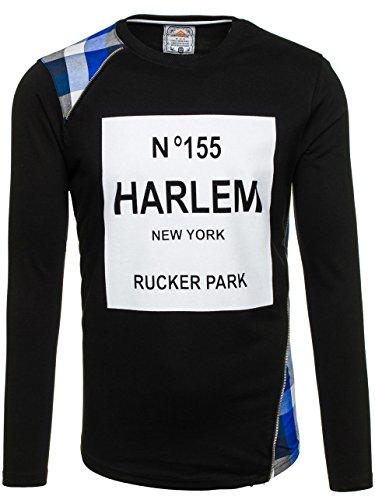BOLF Herren Sweatshirt Pullover ATHLETIC 0756 Schwarz-Blau M [1A1] |