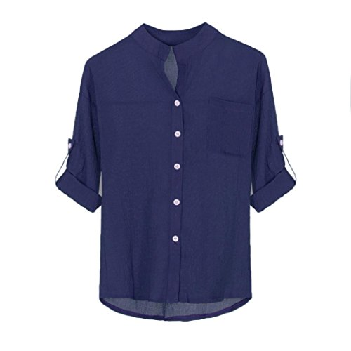 IMJONO Damen Longbluse leinenbluse Blaue mit Glitzer Hellblau Spitzenbluse Hemd Tailliert für Rosa Schlupfbluse Stretch Moderne Kariert Chiffon Gepunktet Blau(EU-38/CN-M,Blau) (Gore Stretch Wrap)