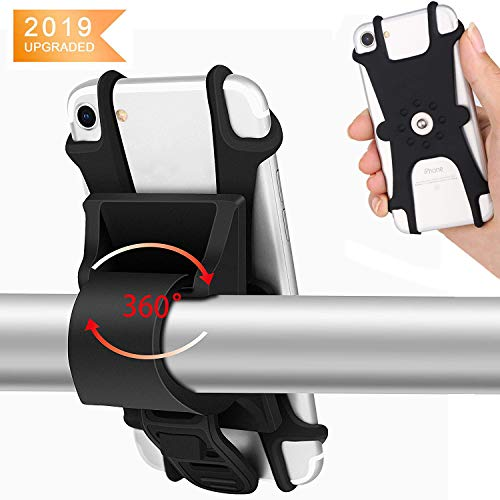 Abnehmbare Handy-halter (KAILH Fahrrad Handyhalterung Universal Motorrad Handy Halterung, Abnehmbares Design,Rotationsfunktion für alle 4.0-7.0 Handys, Schwarz)