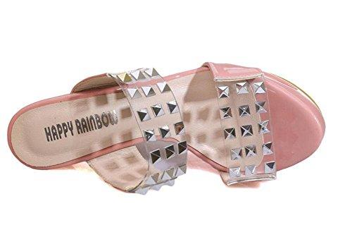 SHINIK Damen Plattform Open Toe Sandalen Super High-Heel Römische Slope Nieten Wasserdichte Hollow Cool Pantoffeln Pumps Schwarz Pink Pink