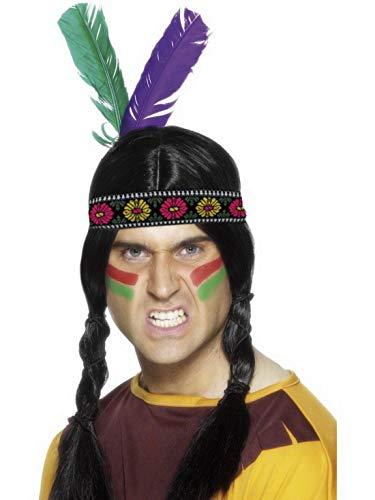 Confettery - Kostüm Accessoires Zubehör Western Indianer Kopfschmuck mit 2 Federn, perfekt für Karneval, Fasching und Fastnacht, ()