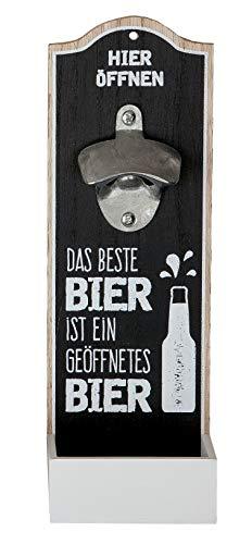 fner Metallöffner Kronkorkensammler Das Beste Bier ist ein geöffnetes Bier Höhe 30 cm, Wanddeko, Wandobjekt (schwarz (Stückpreis)) ()