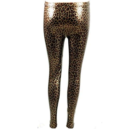Metallic-lycra-gewebe (Rubberfashion Glanz Leggings, glänzende Leggin mit Leo Muster metallic bis zur Hüfte für Frauen und Mädchen Menge: 1 Stück metallic leopard L/XL)