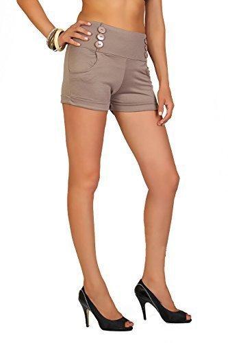 Futuro Fashion été Taille Haute Sophistiquée Trendy Short avec poches et Boutons Taille 8-18 UK PA08 Cappuccino