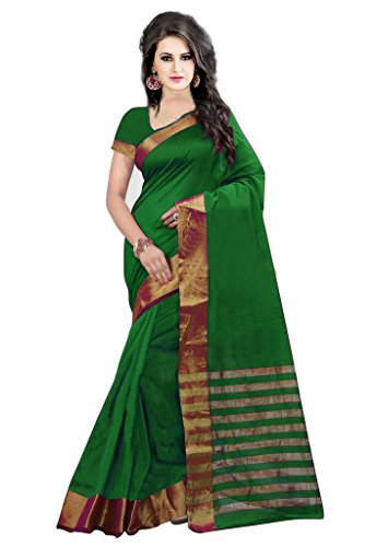 ISHIN Poly Silk Green With Woven Zari Border Women's Saree.  available at amazon for Rs.499