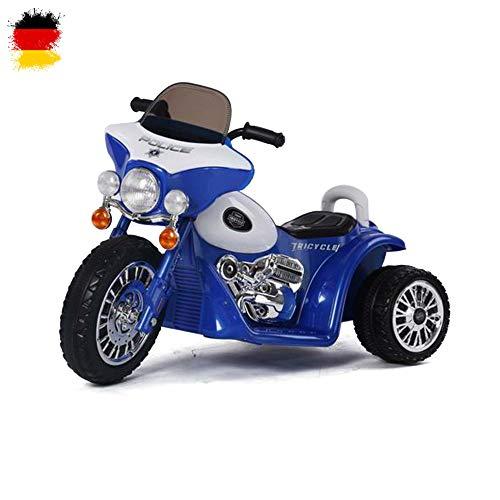 Kinder Elektro Motorrad Polizeimotorrad Chopper \'Police-Edition\' mit Beleuchtung, Soundeffekt, 6V Power Akku und Motor
