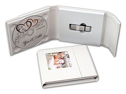 Estuche de cuero de boda DVD/USB con una apertura para fotos. Color blanco.