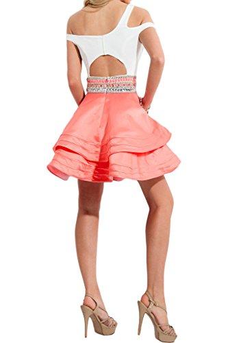 Gorgeous Bride Fashion A-Linie Mini Satin Traeger Abendkleider Cocktailkleid Ballkleider Weiss-Mintgruen
