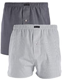 Mens Wolsey 2 Pack Grey Check Cotton Woven Boxer Shorts Underwear UT104