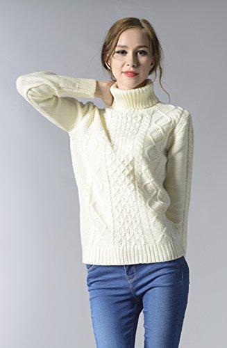 La Vogue-Maglioni da Donna Maglioni con Collo Alto Caldo Maglia Bianco