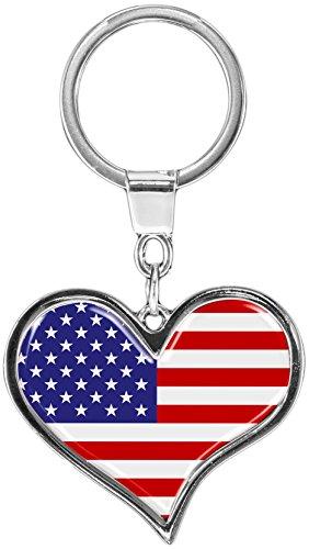 """Premium - Schlüsselanhänger aus Metall """"USA"""" in Herz - Form - tolles Geschenk für USA - Fans"""